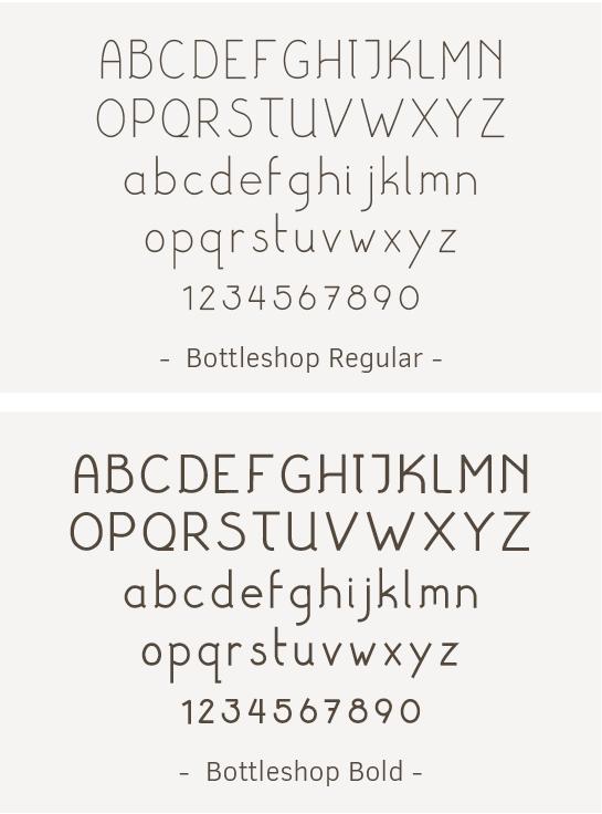 font / lettertype ontwerp voor Bottleshop